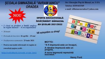 """Noutate la Școala Gimnazială """"Avram Iancu"""" din Oradea - Clasă cu studiu intensiv al limbii engleze"""