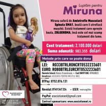 Fetița are nevoie de cel mai scump medicament din lume - Ajut-o pe Miruna să trăiască!