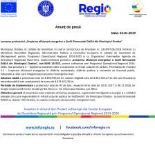 Lansare de proiect la Şcoala Gimnazială Dacia din Municipiul Oradea