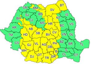 Meteorologii au actualizat Codul galben de ploi - Furtuni în aproape toată ţara